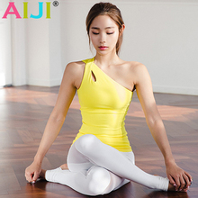 AIJI Women Oblique One Shoulder Strap Sports Yoga Tank Top Sleeveless Vest WorkOut Fitness Running Singlets Yoga Shirts