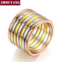 ZHOUYANG Top Quality New Design One Set Seven Rins Rose Gold Color Fashion Ring Austrian Crystals Full Sizes Wholesale ZYR388