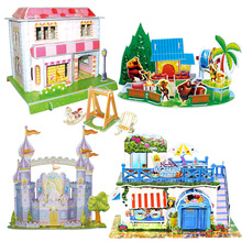DIY 3D Puzzles Assemble Model Of Three-dimensional Cartoon Building Castle Educational Toys For Children Brinquedos Adult Jigsaw