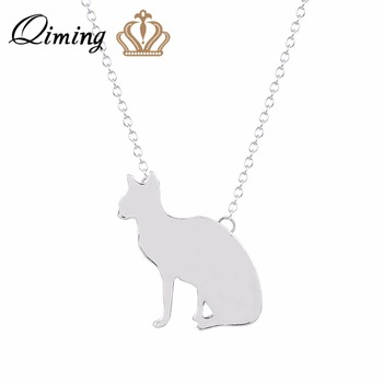 QIMING Cute Animal Cat Pendants&Necklaces For Women Handmade Cat Vintage Jewelry Accessories Party Gift Statement Necklace