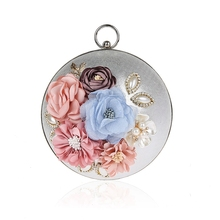 Handmade Flowers Handbags Luxury Diamond Beaded Globe Ball Day Clutch Bag Wedding Party Silver Small Clutches Purse Evening Bags(China)