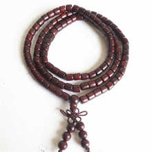 BRO643 Natural Big Leaf Red Sandalwood Prayer Beads Mala 6mm Buddhist 108 Barrel Wooden Bracelets