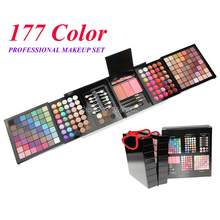 177 Color PRO Makeup Set Eyeshadow Palette Blush Lip Gloss Brow Shader Concealer Eyeshadow Gel + Brush(China)