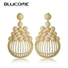 Blucome Classic Large Size Drop Earrings Wedding Party Jewelry Gold Color Cubic Zircons Copper Earrings For Women Bridal Bijoux(China)