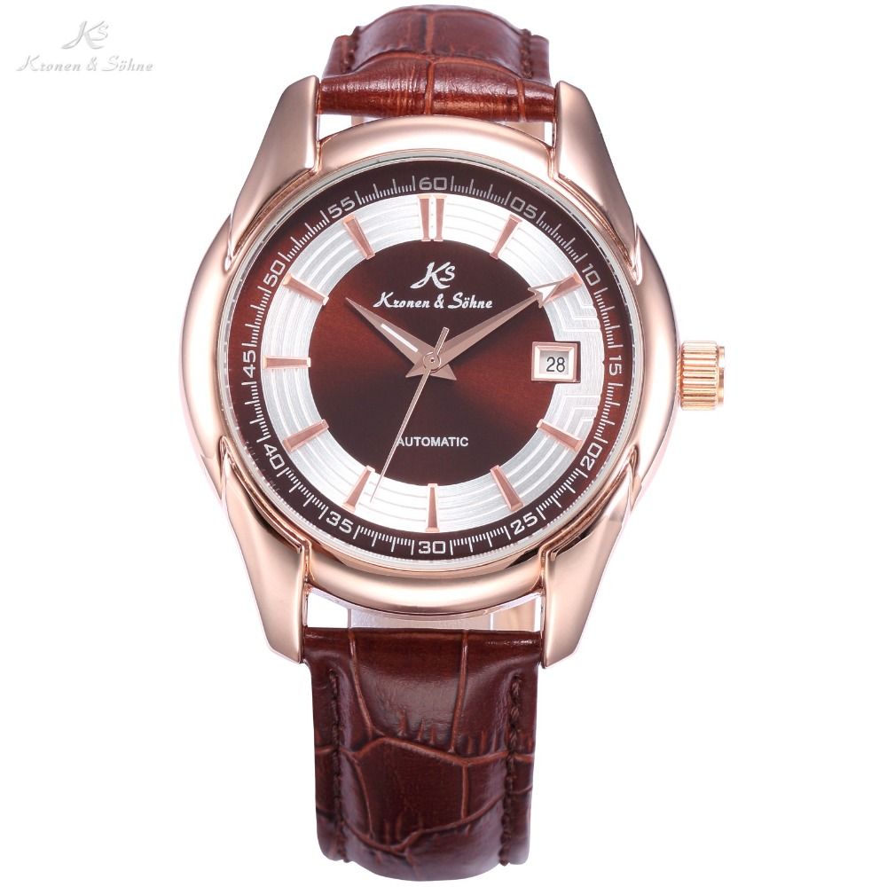 KS Watch Automatic Rose Gold Date Analog Crystal Transparent Back Mechanical Brown Leather Band Strap Men Business Watch /KS258<br>