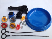 Free shipping beyblade set(4 beyblades+2 launchers+4 tips+2 bolts +1grip+1arena)beyblade with arena as children gift