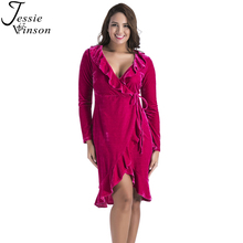 Buy Jessie Vinson Fashion Women Plus Size V-neck Long Sleeve Lace Ruffles Velvet Dress Autumn Winter Slim Vestidos Velour Dresses for $20.99 in AliExpress store