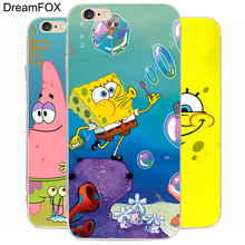 DREAM FOX K208 Sponge Bob Square Pants Transparent Hard Thin Case Cover For Apple iPhone 8 X 7 6 6S Plus 5 5S SE 5C 4 4S