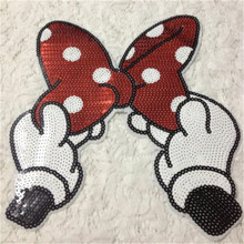 Clothes Accessories Sequins Iron on Patches For Clothing New Fashion T-shirt Sewing & Fabric Patch Cute Bow Logo