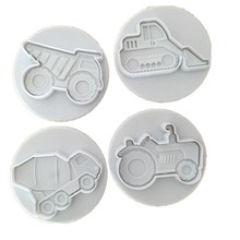 New 4 PCS/Set Special Vehicles Theme (Trucks,Tractor,Forklift) Plastic Cake Cookie Plunger Cutters Fondant Molds  A1123