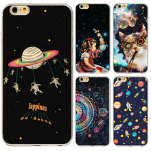 Mysterious Stars Moon Girl Cat For iPhone 5 5S SE 6 6s Phone Case Cover Airship Astronaut Transparent Soft Silicon Phone Shell