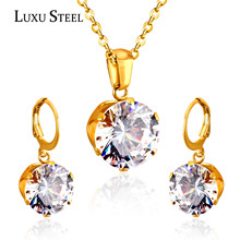 LUXUSTEEL Delicate Jewelry Sets Charm White/Black/Blue/Dark Blue/Pink Color Crystal Pendant Necklace Earring For Women Wedding(China)