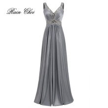 Women Sleeveless Sexy A-Line Elegant Wedding Party Formal Gowns Long Evening Dress 2017(China)