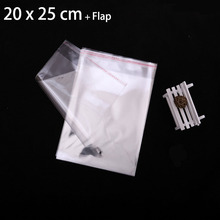 "400 Pcs 20 x 25 cm Transparent Self Adhesive Seal Poly Plastic Bags 7.87"" x 9.84"" Crystal Clear Cellophane Cello Gift Bag"
