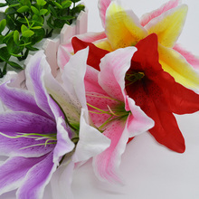 10Pcs/lot 18cm big Lily Multi-use Artificial Flower Heads Home Garden Decoration Wreaths Wedding Decoration Craft Gift Supplies