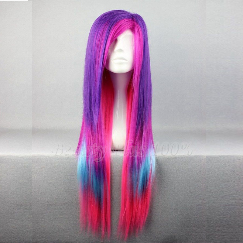 65cm Colorful Mixed Color Long Straight Anime Amir Pony Rainbow Dash Cosplay Harajuku Women Wigs Cheap Synthetic Hair Wig<br><br>Aliexpress