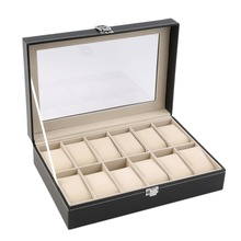 OUTAD 12 Slots Grid PU Leather Watch Display Box Jewelry Storage Organizer Case locked Watch Display Box(China)