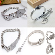 Lovers Titanium Steel Lock Bangle Bracelet Key Pendant Chain Necklace Love Sets For gift