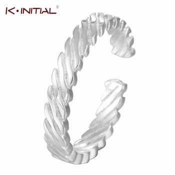1Pcs Trendy Wide Twisted Rope Ring 925 Silver Fashion Finger Jewelry Tail Rings for Women Bohemian Gift Free shipping Bijoux