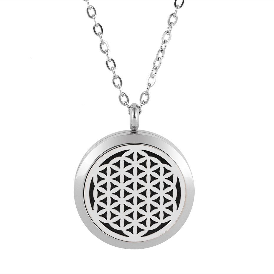 flower of life diffuser necklace silver gold rose gold 20mm 25mm 30mm locket jewelry (1)