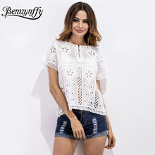 Benuynffy 2017 Summer New Style White Lace Blouse Women Elegant Short Sleeve Outer Wear Hollow Out Fashion Shirt Tops X220(China)