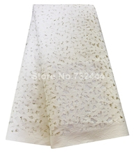 Beaded laser cut lace fabric plain white african lace fabric for wedding dress high quality aso ebi lace fabrics(China)