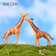 2pc Deer Giraffe Crafts Fairy Garden Miniatures Home Micro Landscape Decorations DIY Doll House Decor