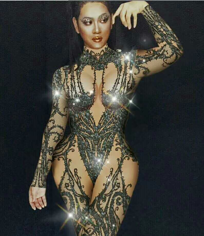 2019 Women New Female Singer Dj Ds Gogo Sexy Black Crystal Jumpsuit Long Sleeve Conjoined Bodysuit Stage Performance Costume