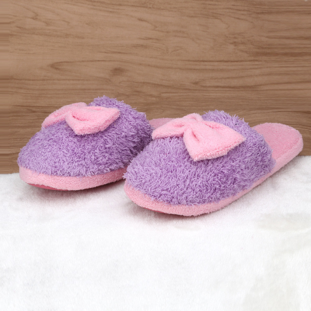 High Quality Women Winter Warm Soft Indoor Bowknot Cotton Slippers Home Anti-slip Shoes Plush Slippers Zapatillas Flip Flops<br><br>Aliexpress