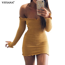 Buy VITIANA Women Autumn Winter Sweater Dress Black White Shoulder Long Sleeve Stretchy Sexy Sheath Short Mini Party Dresses for $9.29 in AliExpress store