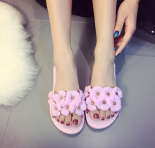 Jelly sandals women summer waterproof flowers plastic sandals beach sandals crystal sandals female