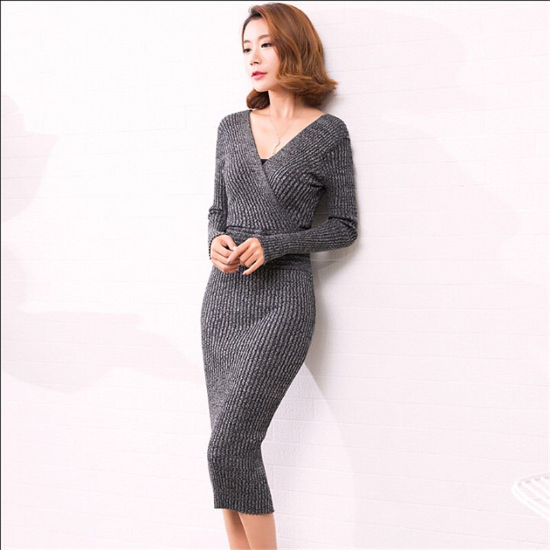 Women Fashion Autumn Knitted Dress Long Female Office Work Dress Casual Sheath Open Back Vestido Sexy Dress A2629Îäåæäà è àêñåññóàðû<br><br>