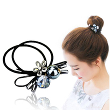 Haimiekang Hair Accessories Fashion Flower Pearls Hair Elastic Rope for Women Girls Elastic Hair Bands Horsetail Headwear(China)