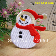 Free Shipping 10 pcs snowman Christmas new launch Embroidered patch iron on Applique garment embroidery patch DIY accessory(China)