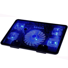 "external Laptop Cooler cooling Pad 14"" 15.6"" 17"" with 5 fans 2 USB Port slide-proof Notebook stand tray with led light(China)"