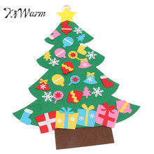 KiWarm DIY Felt Christmas Tree Set with Ornaments Children Gift Toddler Door Wall Hanging Preschool Craft Christmas Decoration