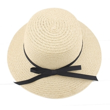 Hot Sale Summer Lady Straw Hat Beach Sun Cap with Bowknot Ribbon Bucket Hat Beige
