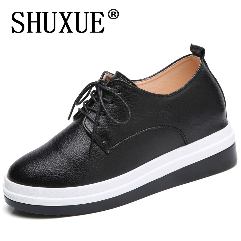 Oxford Shoes For Women Shoes Woman Cow Leather Martin Ankle Female Casual Shoes Flats 2018 Spring Autumn Lace-Up Zapatos Mujer<br>
