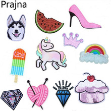 1PCS Crown Space Unicorn Cat Patch Iron Sew On Cartoon Patches Rainbow Cute Cheap Embroidered Patches For Clothes Stickers Badge(China)