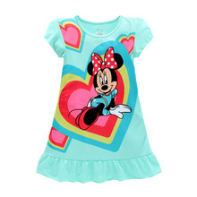 2016 Girls Dresses Minnie Mouse Elsa Anna Sofia kids pajamas nightgowns sleepwear princess clothes set 4 5 6 7 8 9 years(China)