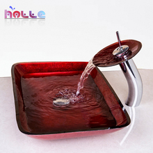 2017 New Waterfall  Red Rectangular Hand Paint Washbasin Tempered Glass Basin Sink With Brass Faucet Bathroom Sink Set