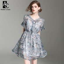 spring summer runway designer womans dresses gray cute dress ball gown white orange flower print flare sleeve fashion mini dress(China)