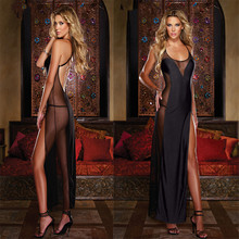 B12 Black Backless Sleepwear Long Nightgown Sexy Costumes For Adult Lingerie Plus Size Women Sex Lingerie