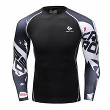 Mens Compression Shirt Body Base Layer Thermal Tops Long Sleeve T-Shirt Skins Gear Cool Dry Jersey(China)