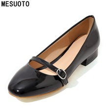 MESUOTO Red Patent Leather Square Low Heels Toe Casual Womens Shoes Spring Air Elegant Ladies Pumps Plus Size 45