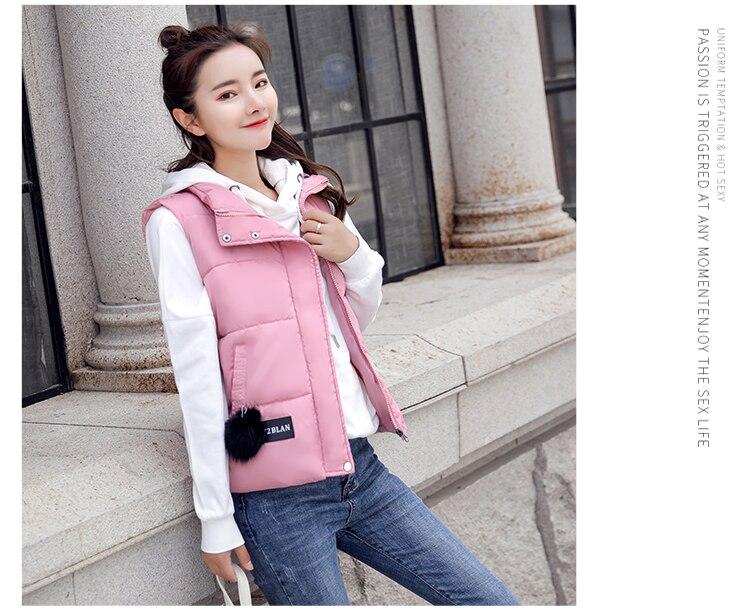 NIJIUDING M-XXXL 2018 New Parka Spring Autumn Slim Velvet Women Vest Jacket Warm Cotton-padded Winter Plus Size Waistcoat female (9)