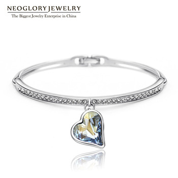 Neoglory Charm Heart Bangles & Bracelets For Women Austrian Crystal Rhinestone Hand Female Jewelry Wholesale Blue 2017 JS4 He1