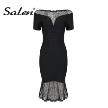 Buy Salen Sexy Lace Mermadi Slash Neck Summer Women Bandage Dress Knee Length Short Sleeve Solid Lady Dress Vestidos 2017 New for $20.46 in AliExpress store