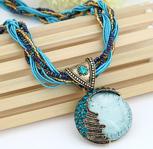 SPX5779 New jewellery Fashion Bohemian Collares fashion long blue stone necklaces for women jewellery Body Jewelry