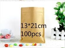 Jolly 12.9  Smooth Kraft Paper Kraft Paper Package Bag Doypack Ziplock Dried Food Storage Pouch  (accept logo print)